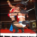 Allison Danger has LuFisto cornered as she stomps away at the Canadian's body.