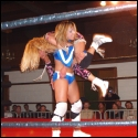 Ring-a-ding Ringer! Tiana Ringer treats Daizee Haze like a rag doll in a hard-fought singles bout. The two battered each other from ringpost to ringpost in an extremely physical fight won by Haze.